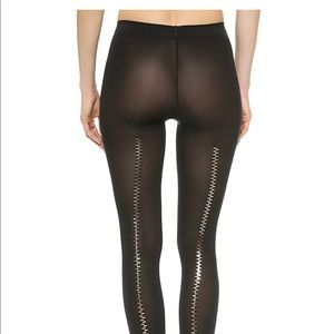 Wolford Black Zipper Opaque Tights Size M